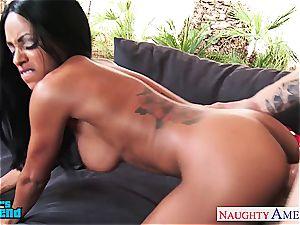 huge-boobed dark-hued Anya Ivy blow and shag a large prick